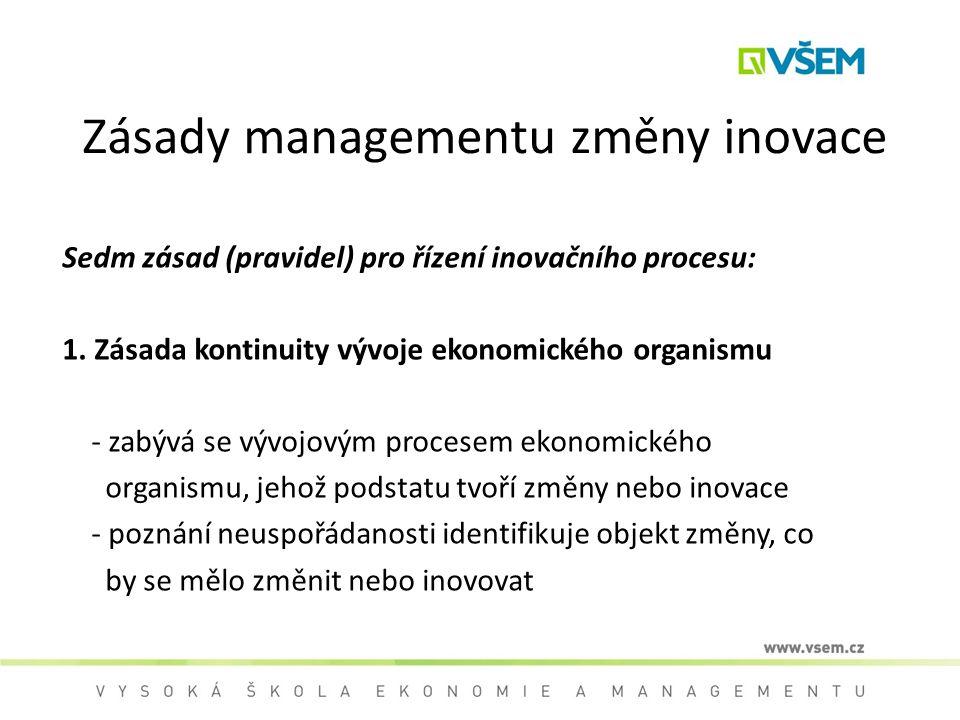 Zásady managementu změny inovace Sedm zásad (pravidel) pro řízení inovačního procesu: 1. Zásada kontinuity vývoje ekonomického organismu - zabývá se v