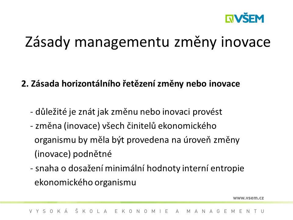 Zásady managementu změny inovace 2. Zásada horizontálního řetězení změny nebo inovace - důležité je znát jak změnu nebo inovaci provést - změna (inova