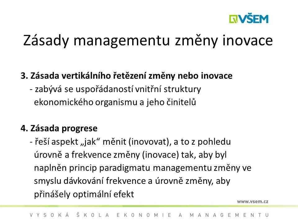 Zásady managementu změny inovace 3. Zásada vertikálního řetězení změny nebo inovace - zabývá se uspořádaností vnitřní struktury ekonomického organismu
