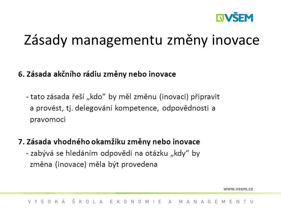 """Zásady managementu změny inovace 6. Zásada akčního rádiu změny nebo inovace - tato zásada řeší """"kdo"""" by měl změnu (inovaci) připravit a provést, tj. d"""