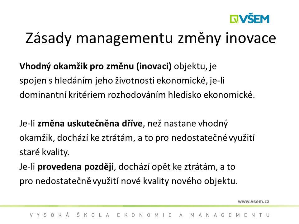 Zásady managementu změny inovace Vhodný okamžik pro změnu (inovaci) objektu, je spojen s hledáním jeho životnosti ekonomické, je-li dominantní kritéri