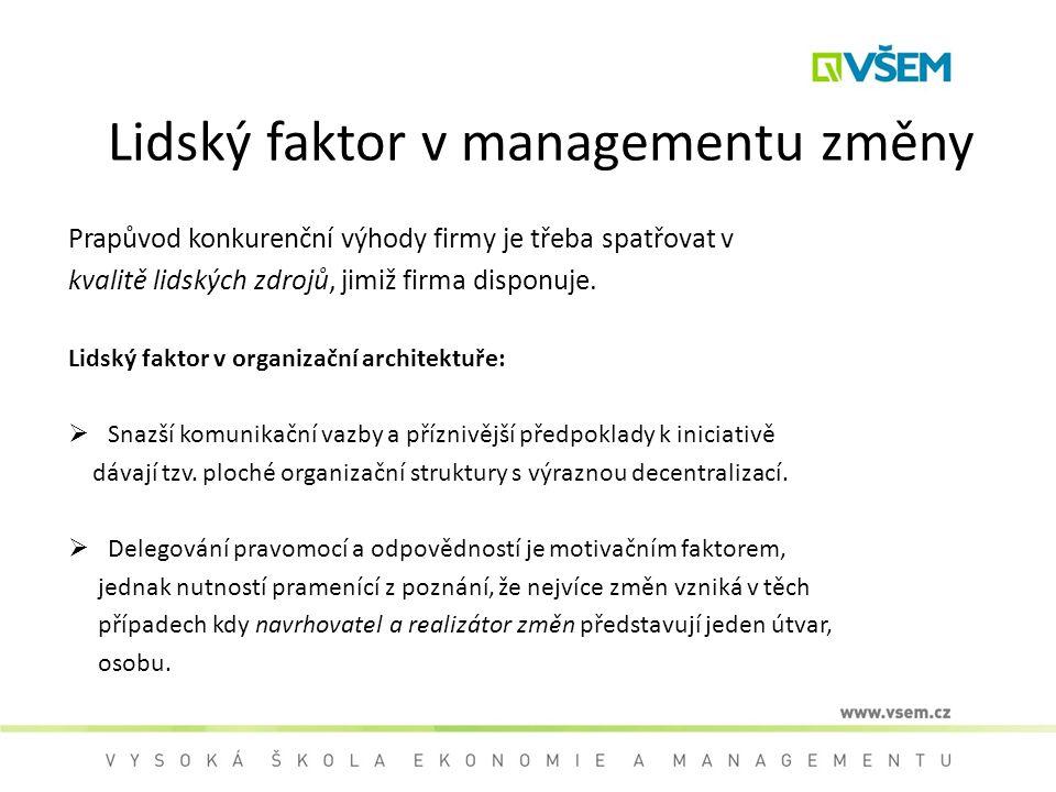 Lidský faktor v managementu změny Prapůvod konkurenční výhody firmy je třeba spatřovat v kvalitě lidských zdrojů, jimiž firma disponuje. Lidský faktor