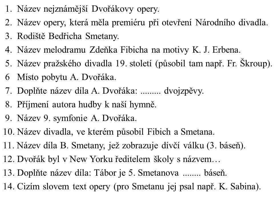 1. Název nejznámější Dvořákovy opery. 2.