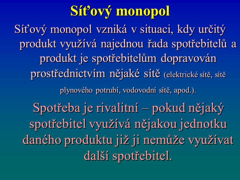 Síťový monopol Síťový monopol vzniká v situaci, kdy určitý produkt využívá najednou řada spotřebitelů a produkt je spotřebitelům dopravován prostředni