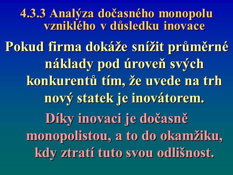 4.3.3 Analýza dočasného monopolu vzniklého v důsledku inovace Pokud firma dokáže snížit průměrné náklady pod úroveň svých konkurentů tím, že uvede na