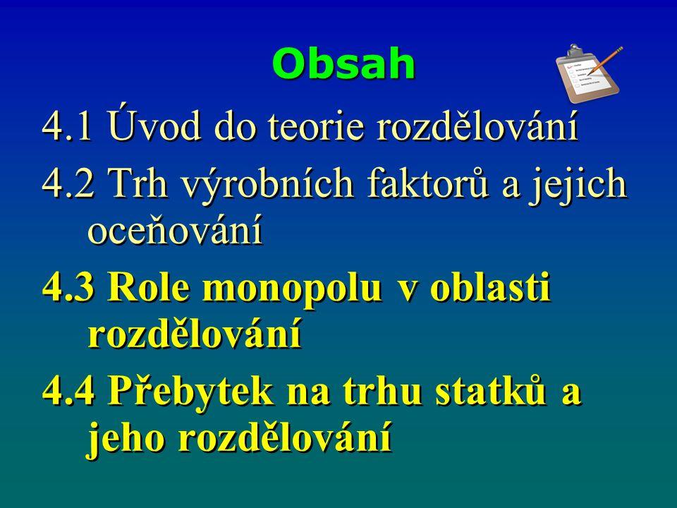 4.3.4 Oligopol a problematika přebytku Firmy v oligopolním postavení realizují čistý přebytek.