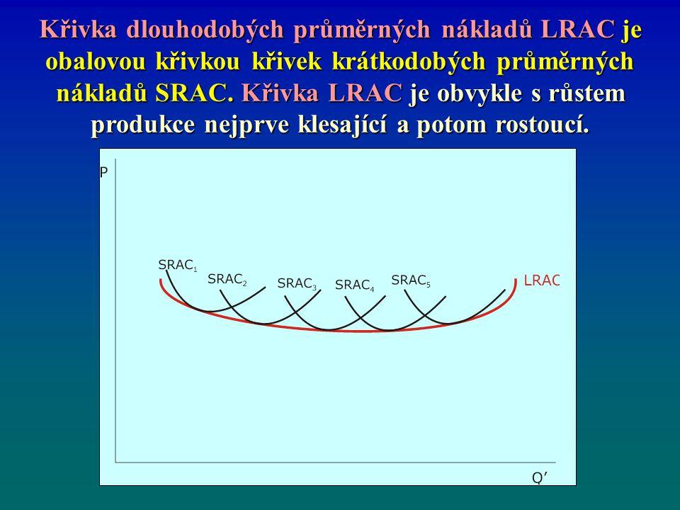 4.3.1 Náklady firmy v dlouhém období a vznik přirozeného monopolu Křivka LRAC umožňuje vysvětlit i jednu z příčin existence oligopolu a dokonalého monopolu.