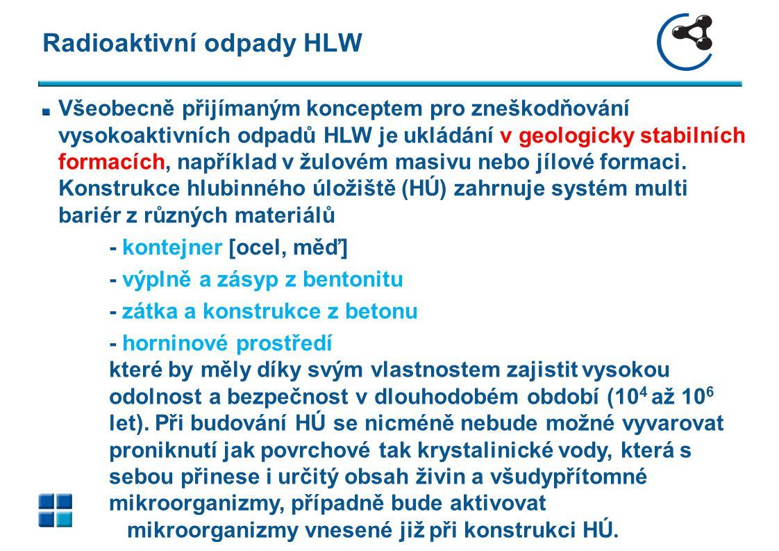 Radioaktivní odpady HLW Všeobecně přijímaným konceptem pro zneškodňování vysokoaktivních odpadů HLW je ukládání v geologicky stabilních formacích, nap