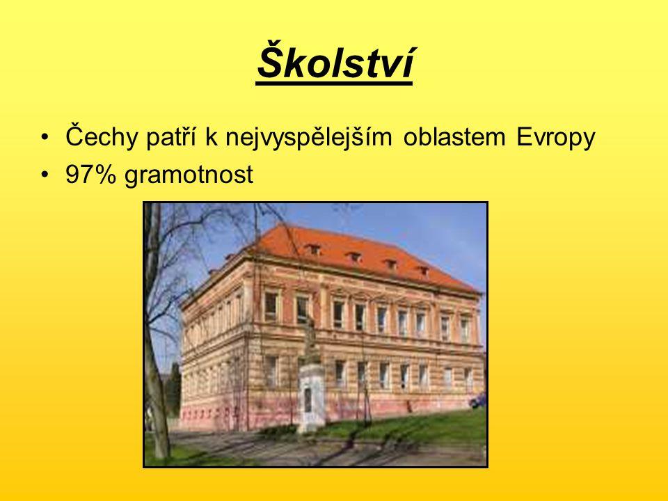 Školství Čechy patří k nejvyspělejším oblastem Evropy 97% gramotnost