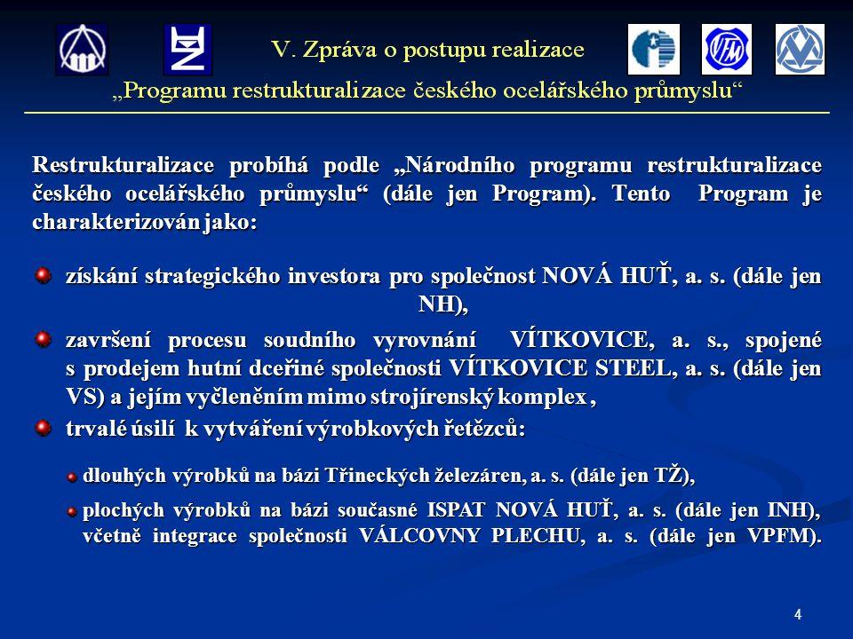 """4 Restrukturalizace probíhá podle """"Národního programu restrukturalizace českého ocelářského průmyslu"""" (dále jen Program). Tento Program je charakteriz"""