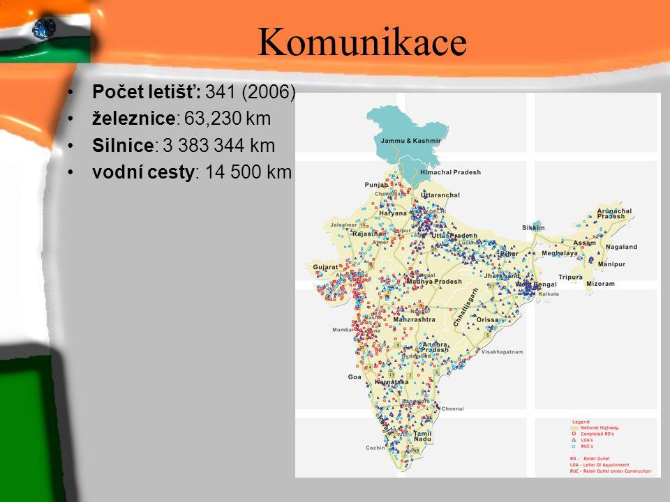 Komunikace Počet letišť: 341 (2006) železnice: 63,230 km Silnice: 3 383 344 km vodní cesty: 14 500 km