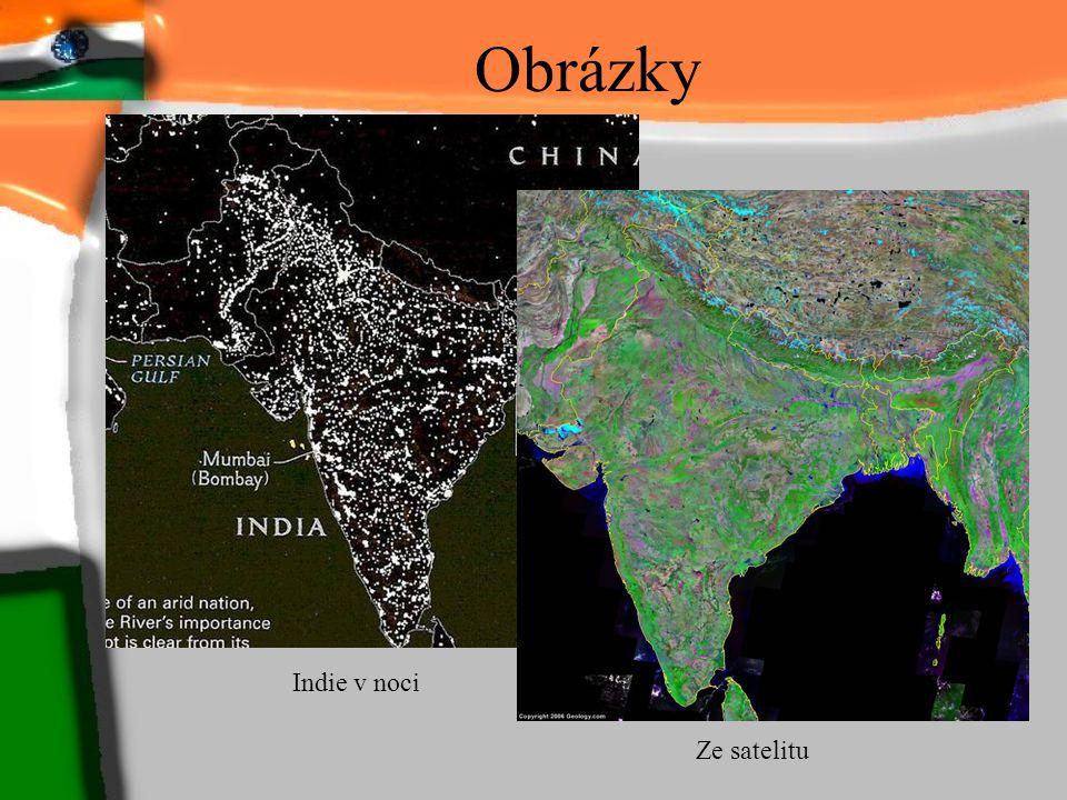 Obrázky Indie v noci Ze satelitu