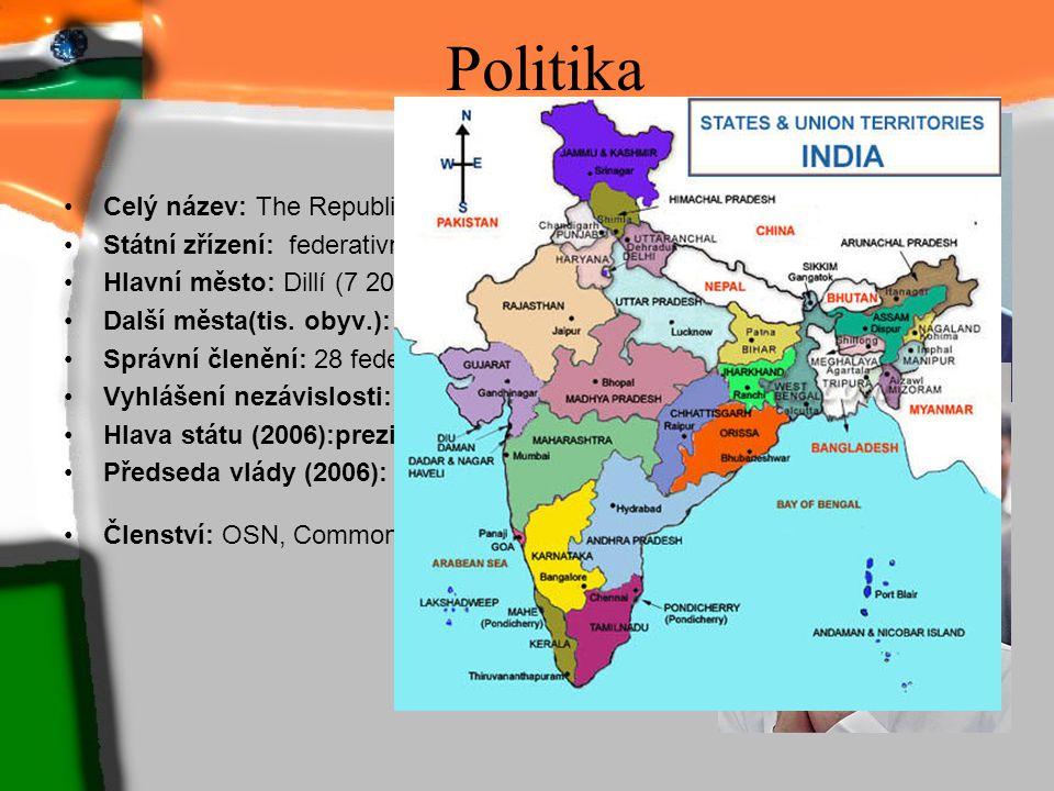 Politika Celý název: The Republic of India Státní zřízení: federativní republika Hlavní město: Dillí (7 207 tis. obyv.) Další města(tis. obyv.): Bomba