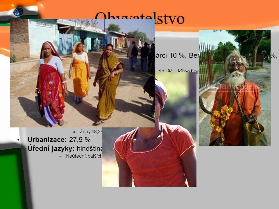 Obyvatelstvo Počet obyvatel (2006): 1 095 351 995 Hustota zalidnění: 313 obyv./km2 Národnostní složení: Hindové 28 %, Bihárci 10 %, Bengálci 9 %, Telu