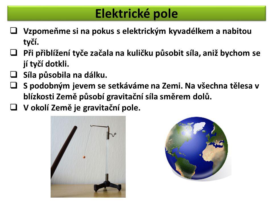 Elektrické pole  Vzpomeňme si na pokus s elektrickým kyvadélkem a nabitou tyčí.  Při přiblížení tyče začala na kuličku působit síla, aniž bychom se