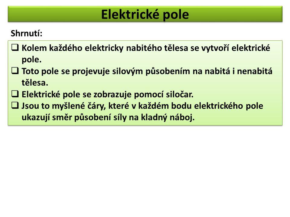 Elektrické pole  Kolem každého elektricky nabitého tělesa se vytvoří elektrické pole.  Toto pole se projevuje silovým působením na nabitá i nenabitá