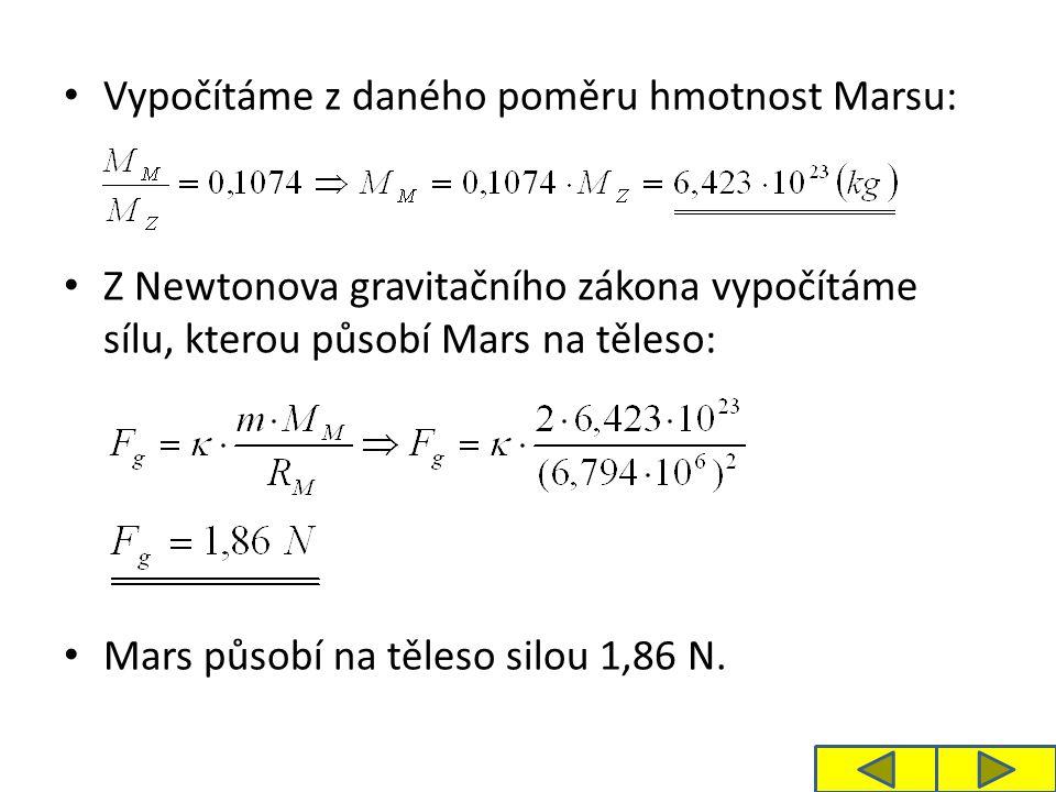 Vypočítáme z daného poměru hmotnost Marsu: Z Newtonova gravitačního zákona vypočítáme sílu, kterou působí Mars na těleso: Mars působí na těleso silou 1,86 N.