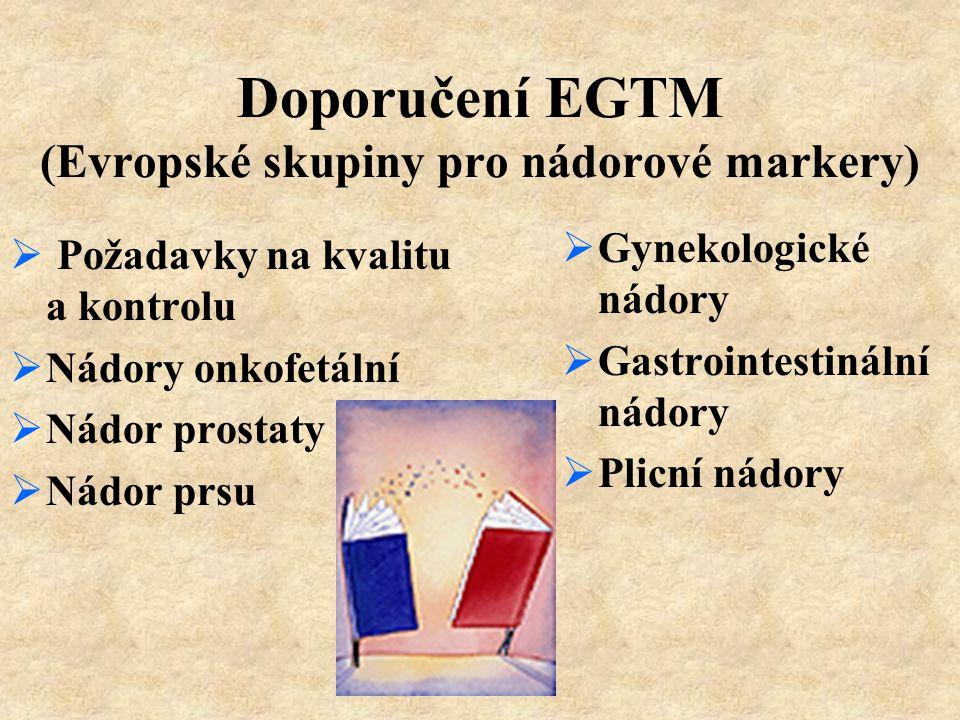 Doporučení EGTM (Evropské skupiny pro nádorové markery)  Požadavky na kvalitu a kontrolu  Nádory onkofetální  Nádor prostaty  Nádor prsu  Gynekol