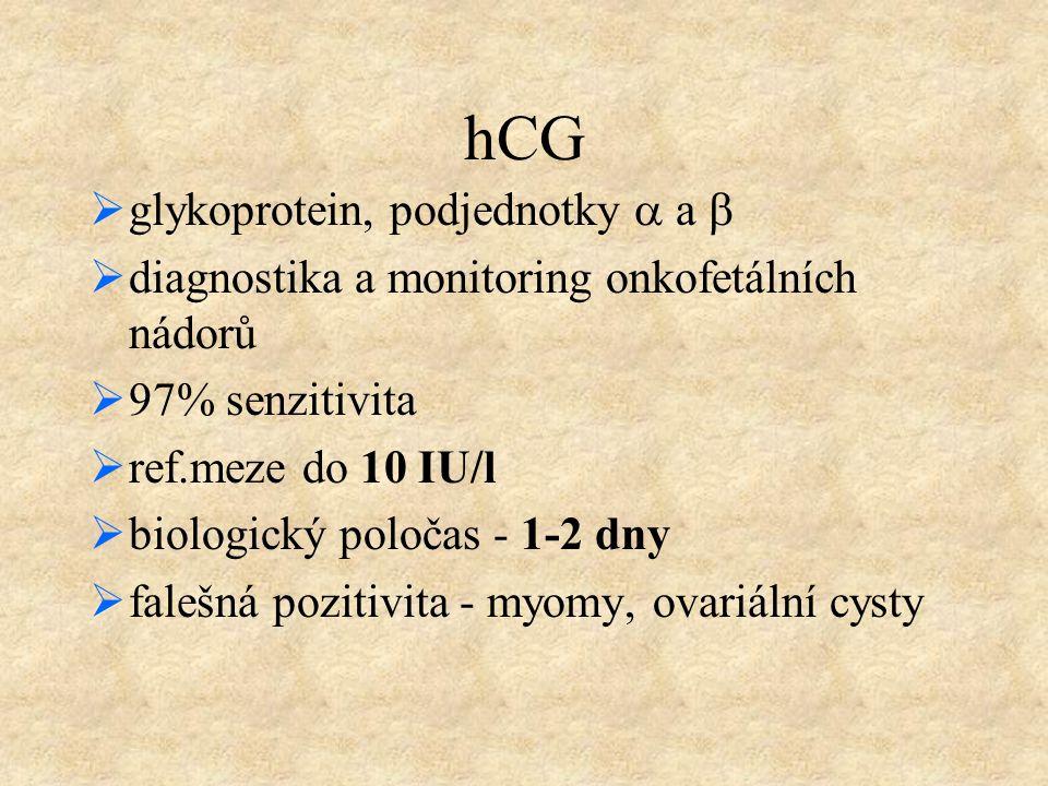 hCG  glykoprotein, podjednotky  a   diagnostika a monitoring onkofetálních nádorů  97% senzitivita  ref.meze do 10 IU/l  biologický poločas - 1