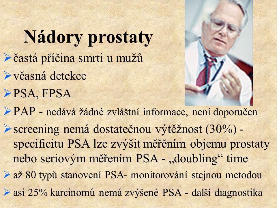 Nádory prostaty  častá příčina smrti u mužů  včasná detekce  PSA, FPSA  PAP - nedává žádné zvláštní informace, není doporučen  screening nemá dos