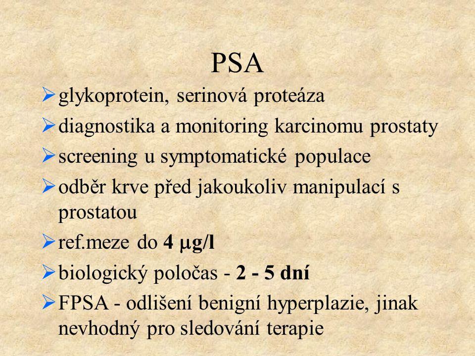 PSA  glykoprotein, serinová proteáza  diagnostika a monitoring karcinomu prostaty  screening u symptomatické populace  odběr krve před jakoukoliv