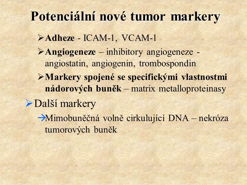 Potenciální nové tumor markery  Adheze - ICAM-1, VCAM-1  Angiogeneze – inhibitory angiogeneze - angiostatin, angiogenin, trombospondin  Markery spo