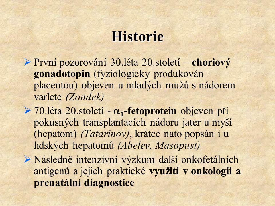 Historie  První pozorování 30.léta 20.století – choriový gonadotopin (fyziologicky produkován placentou) objeven u mladých mužů s nádorem varlete (Zo