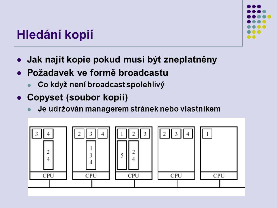 Hledání kopií Jak najít kopie pokud musí být zneplatněny Požadavek ve formě broadcastu Co když není broadcast spolehlivý Copyset (soubor kopií) Je udržován managerem stránek nebo vlastníkem