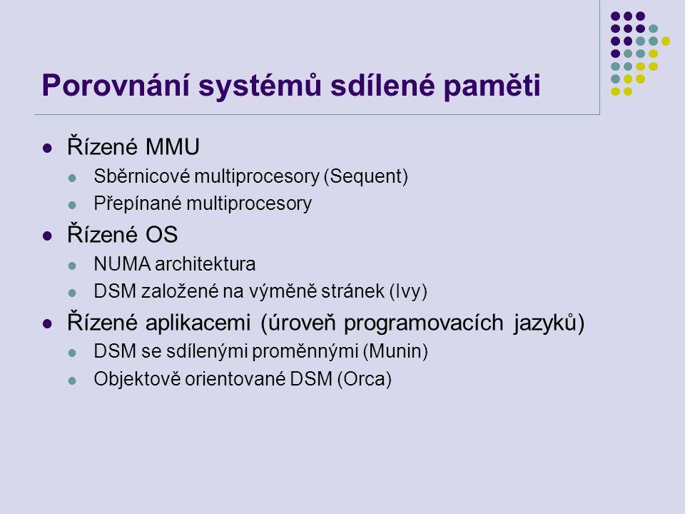 Porovnání systémů sdílené paměti Řízené MMU Sběrnicové multiprocesory (Sequent) Přepínané multiprocesory Řízené OS NUMA architektura DSM založené na výměně stránek (Ivy) Řízené aplikacemi (úroveň programovacích jazyků) DSM se sdílenými proměnnými (Munin) Objektově orientované DSM (Orca)