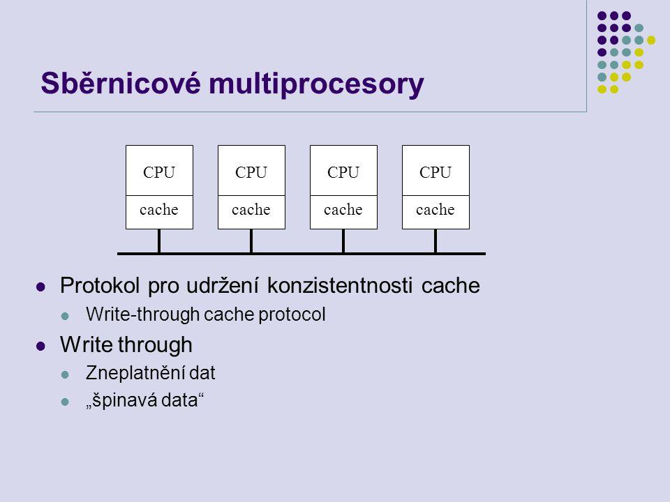 """Sběrnicové multiprocesory Protokol pro udržení konzistentnosti cache Write-through cache protocol Write through Zneplatnění dat """"špinavá data CPU cache CPU cache CPU cache CPU cache"""