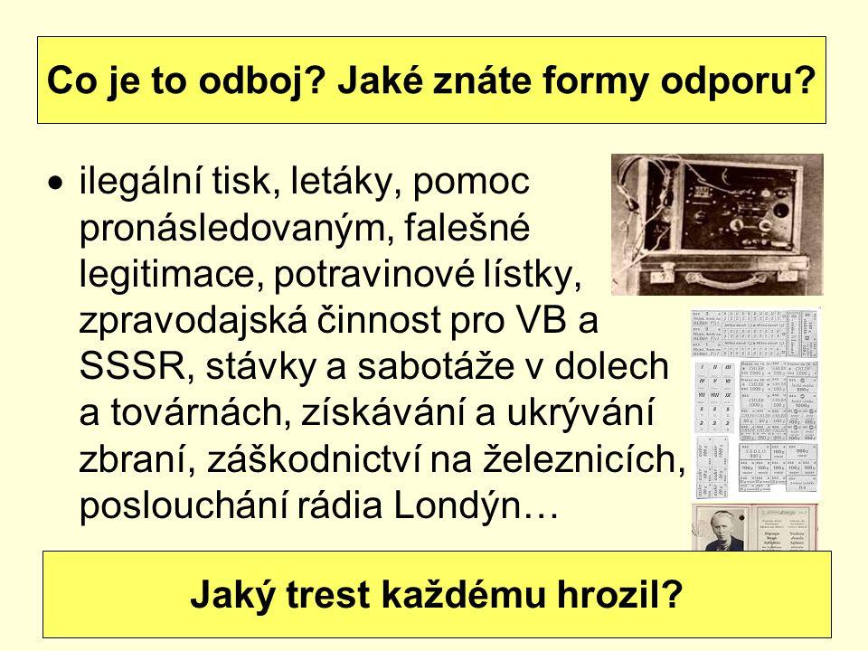  ilegální tisk, letáky, pomoc pronásledovaným, falešné legitimace, potravinové lístky, zpravodajská činnost pro VB a SSSR, stávky a sabotáže v dolech