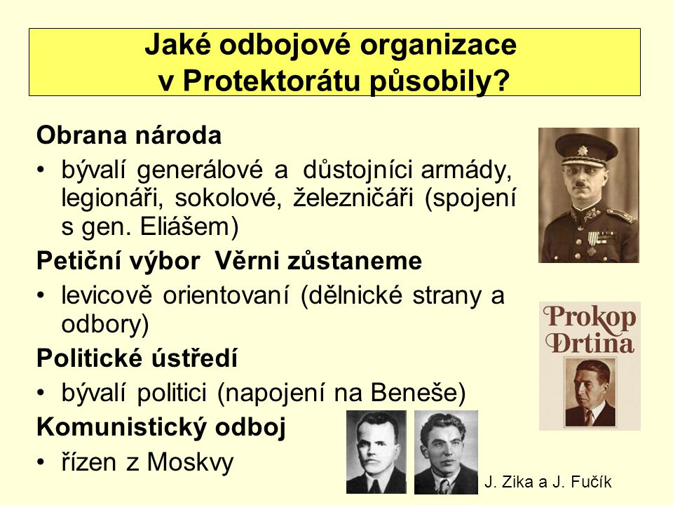 Obrana národa bývalí generálové a důstojníci armády, legionáři, sokolové, železničáři (spojení s gen.