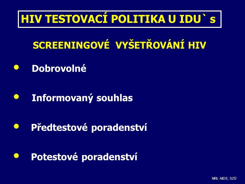 FORMY SCREENINGOVÉHO TESTOVÁNÍ HIV u IDU´s Anonymní bezplatné - podprahová zařízení pro IDU´s (krev, sliny) - HIV Help lines - některá zařízení hygienické služby (zdravotní ústavy) Hrazené zdravotní pojišťovnou - zdravotnická zařízení léčebné péče (nabídka testování zejména pro problematické IDU´s) Vyžádané a hrazené klientem - v kterémkoliv zdravotnickém zařízení NRL AIDS, SZÚ