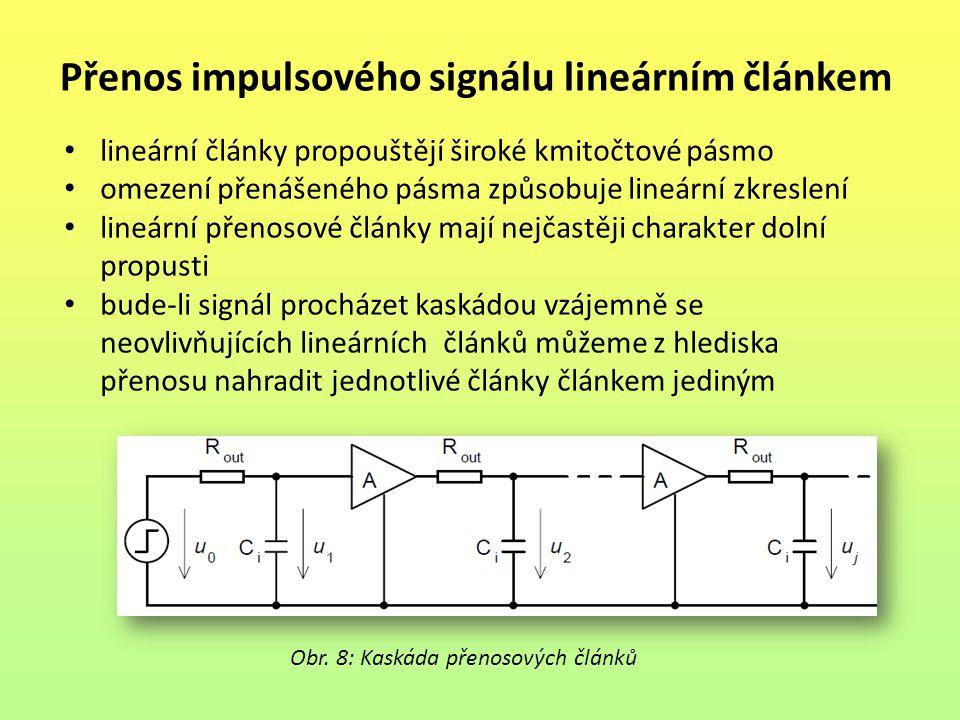 Přenos impulsového signálu lineárním článkem lineární články propouštějí široké kmitočtové pásmo omezení přenášeného pásma způsobuje lineární zkreslen