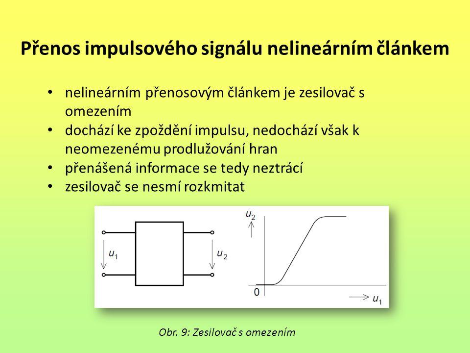 Přenos impulsového signálu nelineárním článkem nelineárním přenosovým článkem je zesilovač s omezením dochází ke zpoždění impulsu, nedochází však k ne