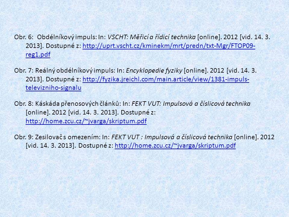 Obr. 6: Obdélníkový impuls: In: VSCHT: Měřicí a řídicí technika [online]. 2012 [vid. 14. 3. 2013]. Dostupné z: http://uprt.vscht.cz/kminekm/mrt/predn/