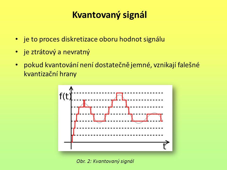 Digitální signál je to proces tvorby vzorků v čase s omezeným počtem hodnot vždy dochází ke ztrátě informace zvyšováním vzorkovacího kmitočtu a počtu úrovní kvantování se k původnímu signálu lze přiblížit Obr.