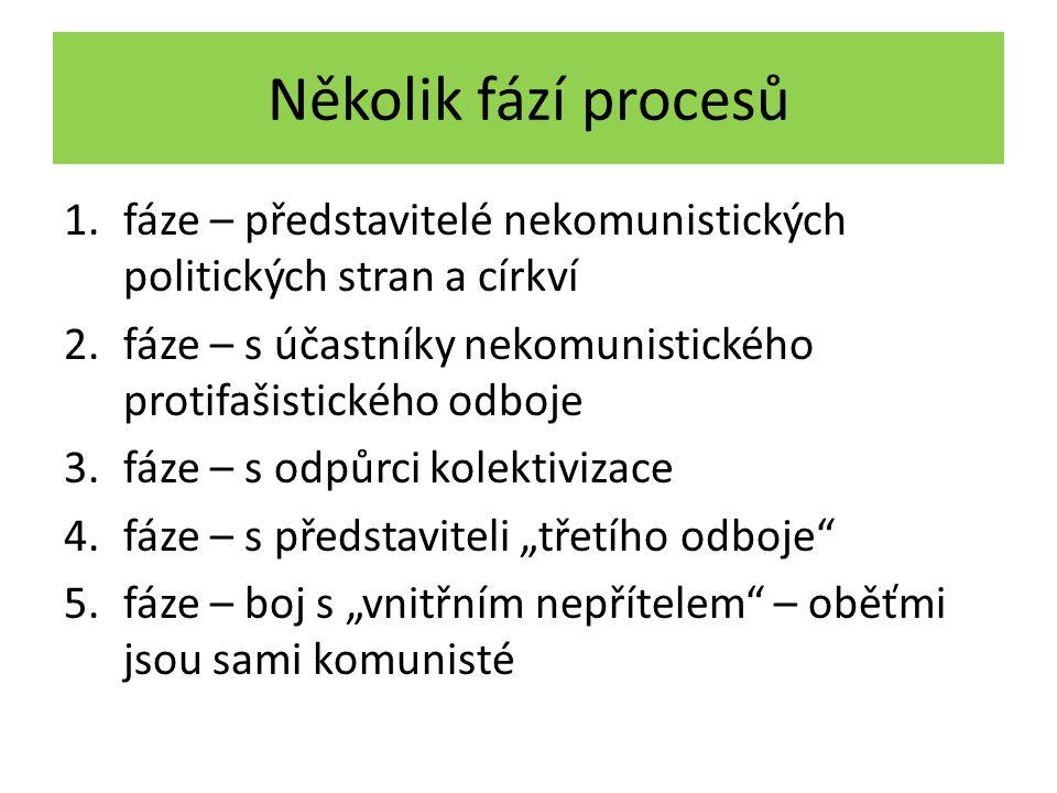 Několik fází procesů 1.fáze – představitelé nekomunistických politických stran a církví 2.fáze – s účastníky nekomunistického protifašistického odboje