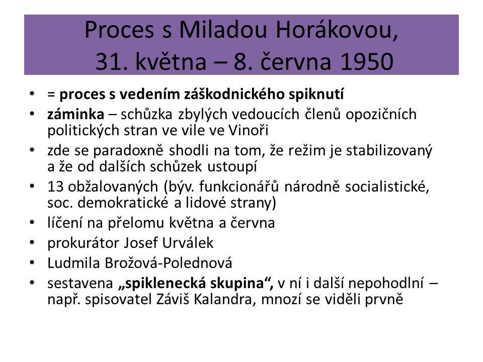 Proces s Miladou Horákovou, 31. května – 8. června 1950 = proces s vedením záškodnického spiknutí záminka – schůzka zbylých vedoucích členů opozičních