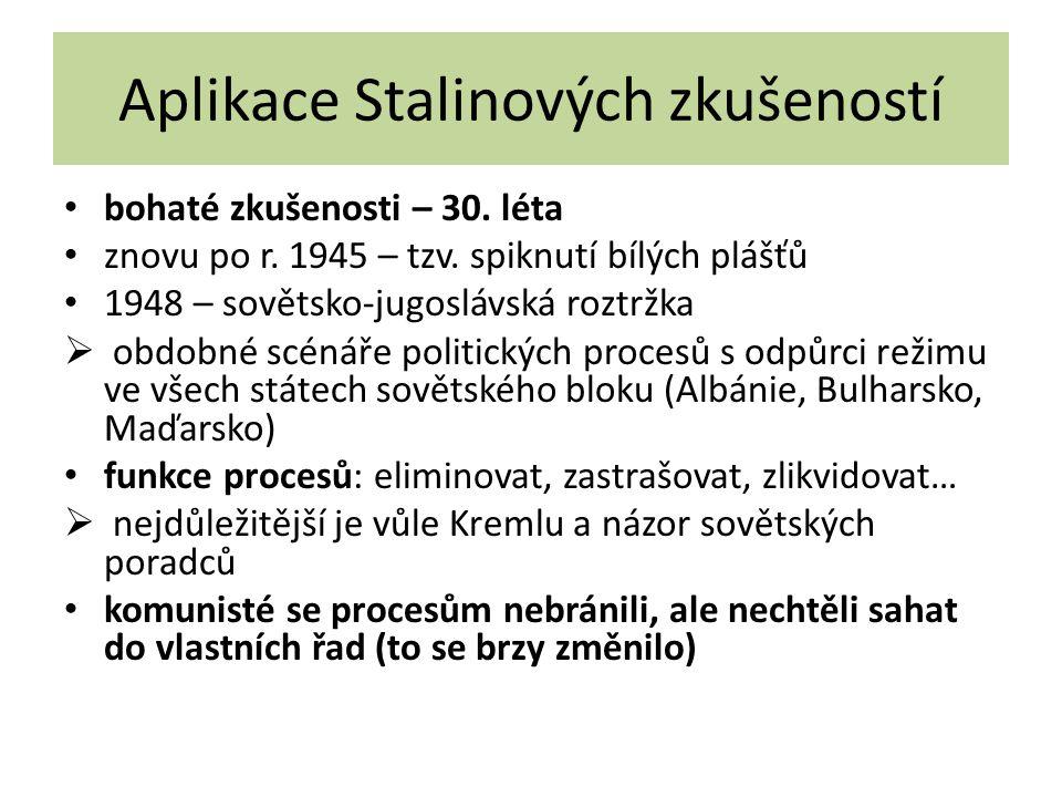Aplikace Stalinových zkušeností bohaté zkušenosti – 30. léta znovu po r. 1945 – tzv. spiknutí bílých plášťů 1948 – sovětsko-jugoslávská roztržka  obd