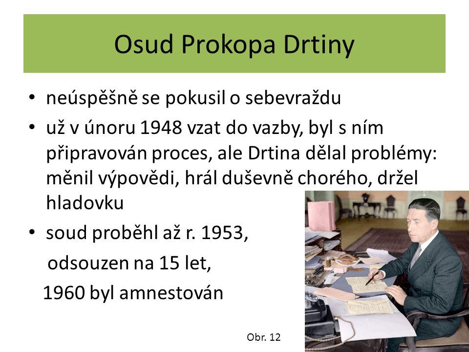 Osud Prokopa Drtiny neúspěšně se pokusil o sebevraždu už v únoru 1948 vzat do vazby, byl s ním připravován proces, ale Drtina dělal problémy: měnil vý