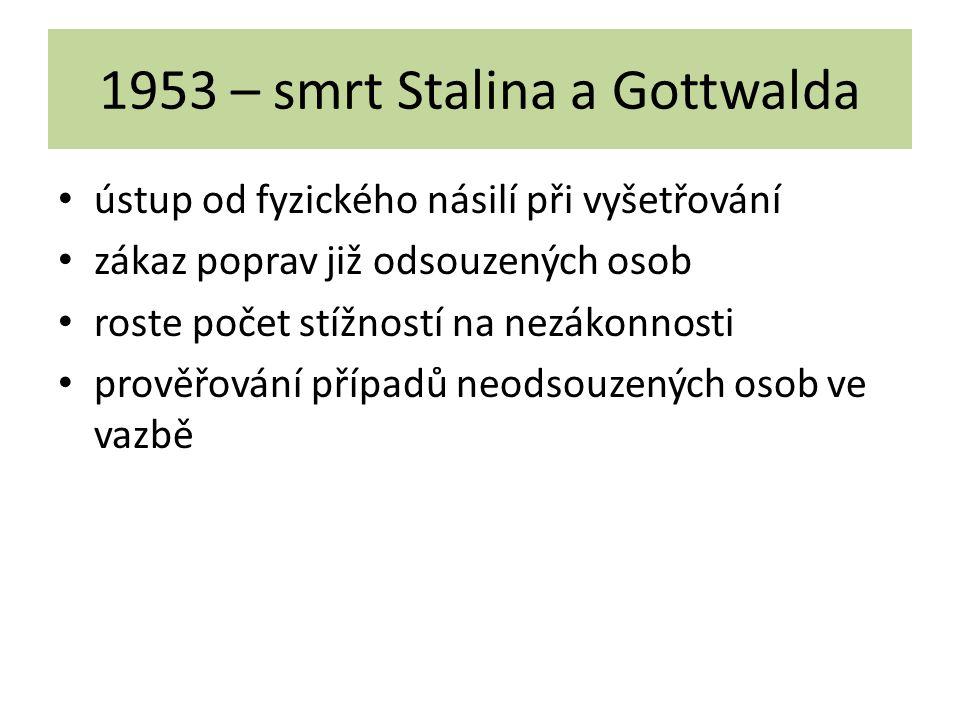 1953 – smrt Stalina a Gottwalda ústup od fyzického násilí při vyšetřování zákaz poprav již odsouzených osob roste počet stížností na nezákonnosti prov