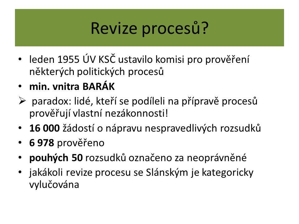 Revize procesů? leden 1955 ÚV KSČ ustavilo komisi pro prověření některých politických procesů min. vnitra BARÁK  paradox: lidé, kteří se podíleli na