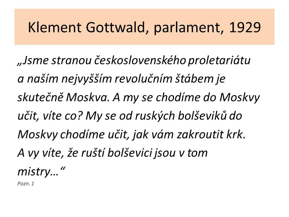 """Klement Gottwald, parlament, 1929 """"Jsme stranou československého proletariátu a naším nejvyšším revolučním štábem je skutečně Moskva. A my se chodíme"""