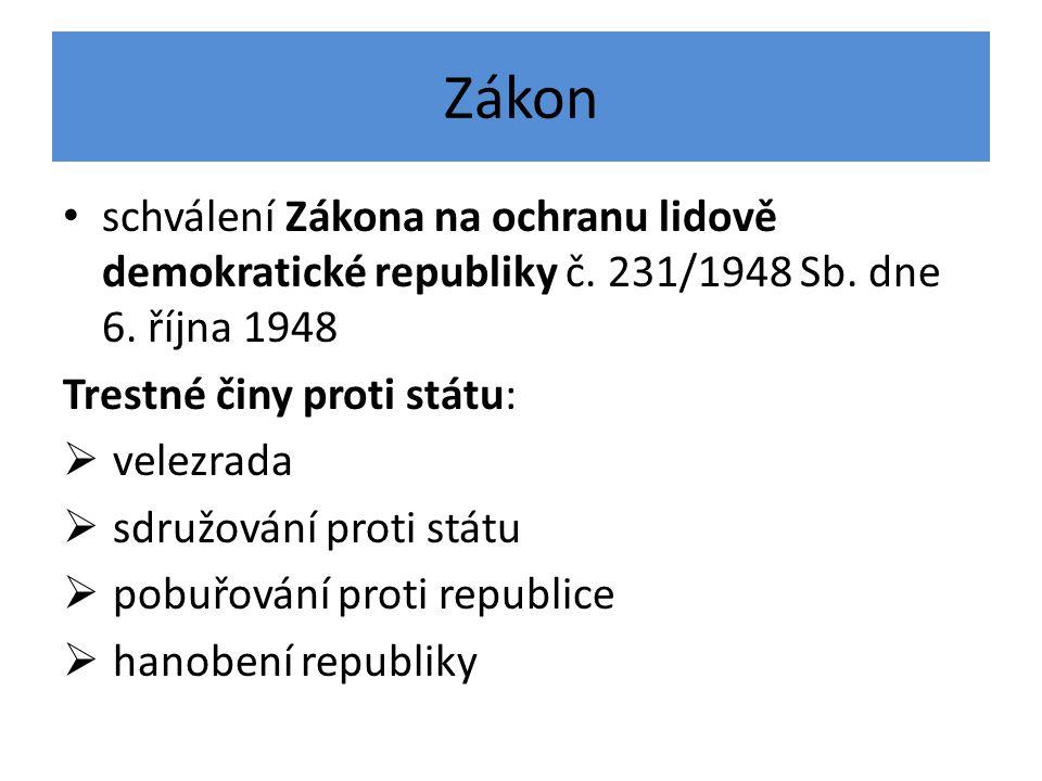 Zákon schválení Zákona na ochranu lidově demokratické republiky č. 231/1948 Sb. dne 6. října 1948 Trestné činy proti státu:  velezrada  sdružování p