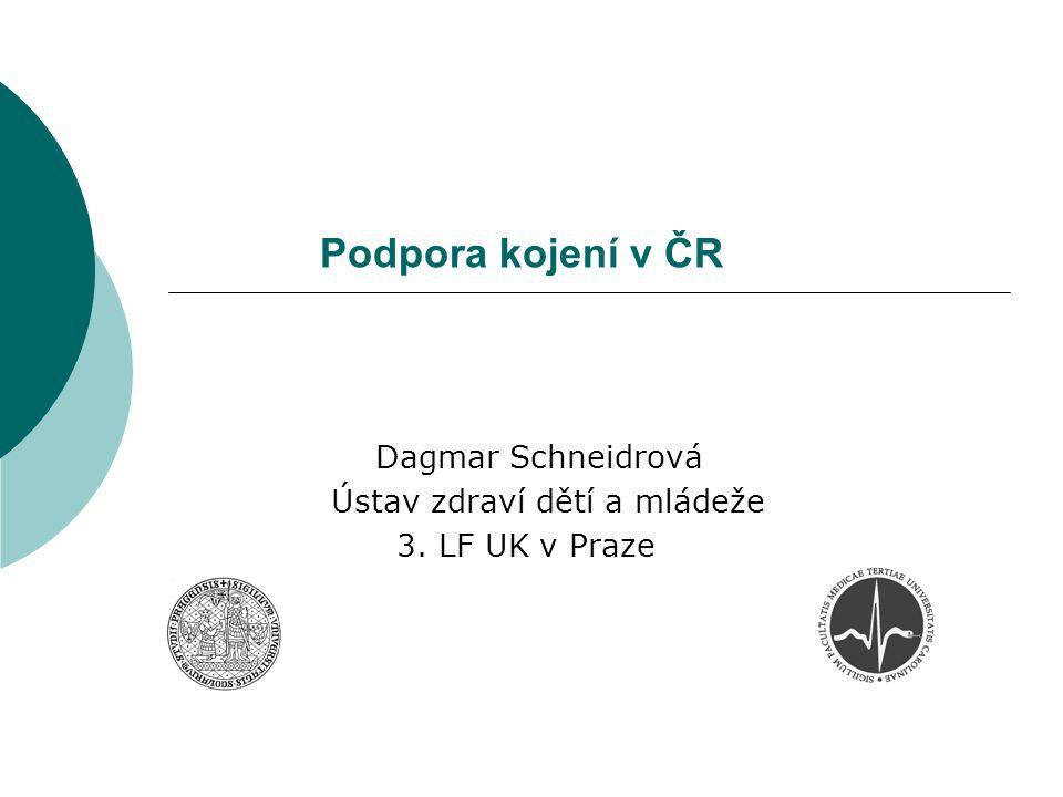 Podpora kojení v ČR Dagmar Schneidrová Ústav zdraví dětí a mládeže 3. LF UK v Praze