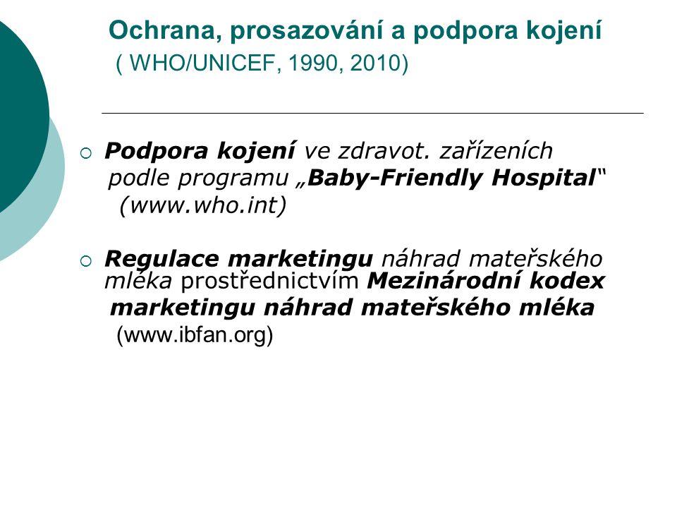 Ochrana, prosazování a podpora kojení ( WHO/UNICEF, 1990, 2010)  Podpora kojení ve zdravot.