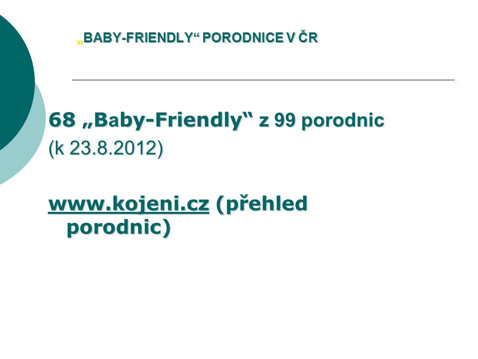 """""""BABY-FRIENDLY PORODNICE V ČR 68 """"B a by-Friendly z 99 porodnic (k 23.8.2012) www.kojeni.czwww.kojeni.cz (přehled porodnic) www.kojeni.cz"""