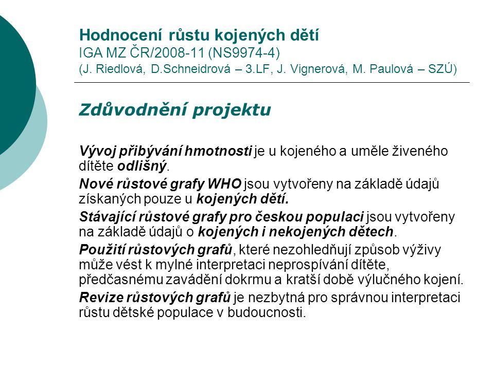 Hodnocení růstu kojených dětí IGA MZ ČR/2008-11 (NS9974-4) (J.