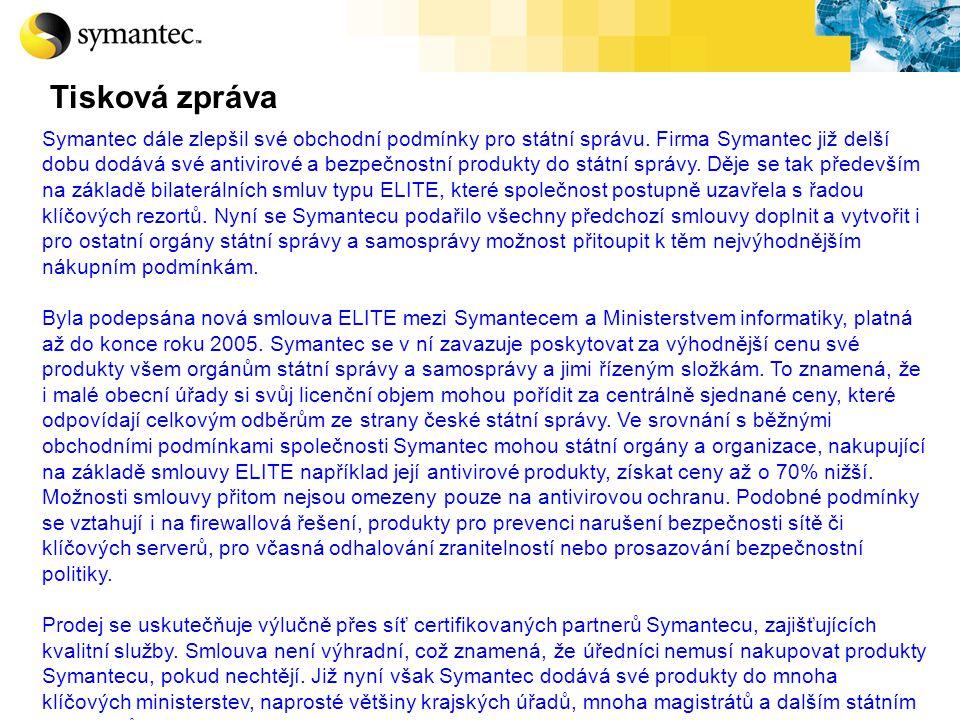 Symantec dále zlepšil své obchodní podmínky pro státní správu. Firma Symantec již delší dobu dodává své antivirové a bezpečnostní produkty do státní s